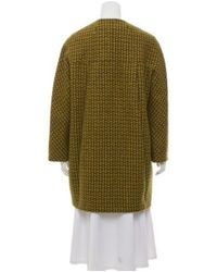 Michael Kors - Yellow Houndstooth Wool Coat Green - Lyst