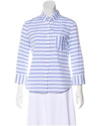 Boy by Band of Outsiders - Blue Striped Button-up Top - Lyst