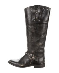 Golden Goose Deluxe Brand | Metallic Distressed Leather Knee-high Boots Black | Lyst