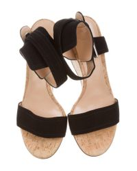 Gianvito Rossi - Black Suede Wedge Sandals - Lyst