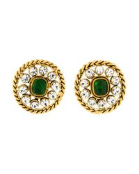 Chanel - Metallic Crystal & Resin Clip-on Earrings Gold - Lyst
