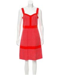 Tory Burch - Embroidered Sleeveless Knee-length Dress - Lyst