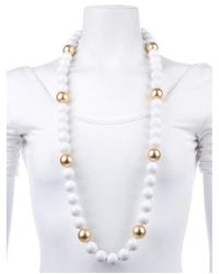 Kenneth Jay Lane - Metallic Resin Bead Strand Necklace Gold - Lyst
