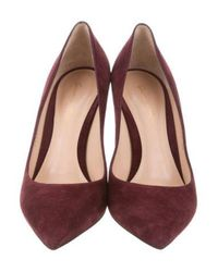 Gianvito Rossi - Purple Pointed-toe Suede Pumps Plum - Lyst