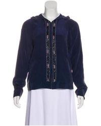 Equipment - Blue Silk Embellished Jacket - Lyst
