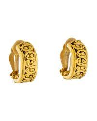 Chanel - Metallic Clip-on Earrings Gold - Lyst