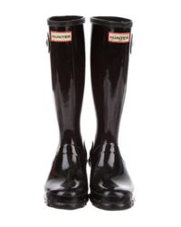 Hunter - Metallic Rubber Rain Boots Black - Lyst
