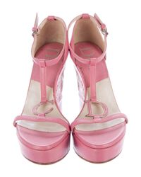 Dior - Pink Pebbled Leather Wedge Sandals - Lyst