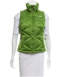 The North Face - Green Quilted Down Vest Lime - Lyst