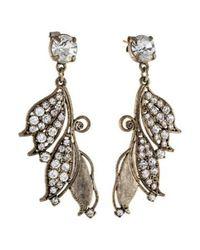 Lulu Frost - Metallic Crystal Leaf Drop Earrings Silver - Lyst