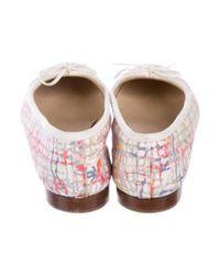 Chanel - Pink Cap-toe Tweed Print Flats - Lyst