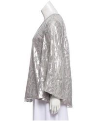 Elizabeth and James - Metallic Silk -accented Top Grey - Lyst