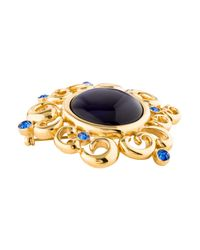 Givenchy - Metallic Resin & Crystal Swirl Brooch Gold - Lyst