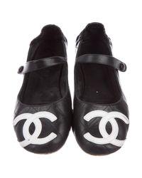Chanel - Black Cc Mary Jane Flats - Lyst