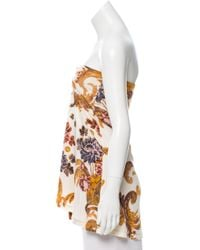 Roberto Cavalli - Strapless Printed Top Brown - Lyst
