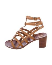 c1df26a1b35c Lyst - Tory Burch Leather Caged Sandals Brown in Metallic