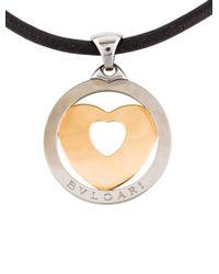 BVLGARI - Metallic Two-tone Tondo Heart Pendant Necklace Yellow - Lyst