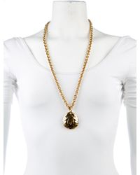 Chanel - Metallic Cc Quilted Pendant Necklace Gold - Lyst
