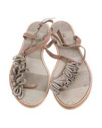 Brunello Cucinelli - Brown Monili-trimmed Thong Sandals - Lyst