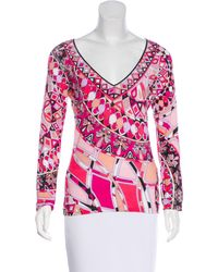 Emilio Pucci - Pink Printed Long Sleeve Top - Lyst