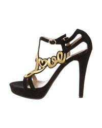 5f3abfaa565 Lyst - Love Moschino Suede Sandals Black in Metallic