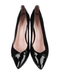 Repetto - Metallic Suede Pointed-toe Pumps Black - Lyst