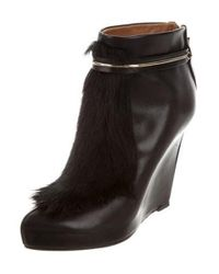 Givenchy - Black Leather Ponyhair-trimmed Wedges - Lyst
