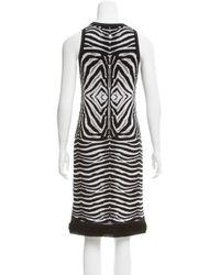 Roberto Cavalli - Metallic Knit Zebra Patterned Dress White - Lyst