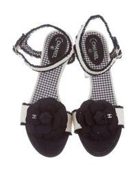 Chanel - Metallic Tweed Camellia Sandals Navy - Lyst