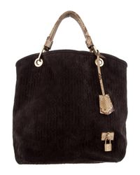 Louis Vuitton - Gray Python-trimmed Suede Whisper Pm Black - Lyst