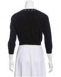 Philosophy di Alberta Ferretti - Black Embellished Long Sleeve Cardigan - Lyst