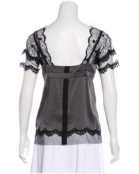 John Galliano - Gray Lace-accented Satin Blouse Grey - Lyst