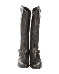 Golden Goose Deluxe Brand - Metallic Distressed Leather Knee-high Boots Black - Lyst