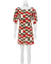 Alice + Olivia - Red Silk Printed Dress - Lyst