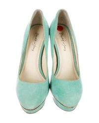 Elizabeth and James - Green Suede Platform Pumps Mint - Lyst