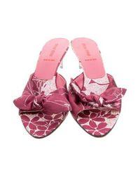 Miu Miu - Purple Miu Printed Satin Sandals - Lyst