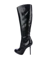 Sergio Rossi - Black Snakeskin Knee-high Boots - Lyst