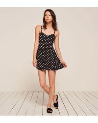 Reformation - Black Vintage Flirty Dot Dress - Lyst