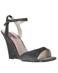 Betsey Johnson | Black Duane Wedge Ankle Strap Dress Sandals | Lyst