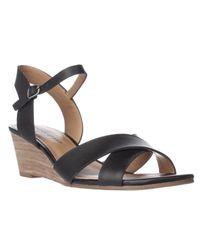 Lucky Brand | Black Jaiden Wedge Sandals | Lyst