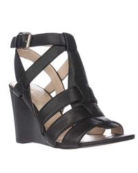 Nine West | Black Farfalla Strapped Wedge Sandals | Lyst