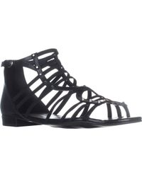 Marc Fisher - Black Partner Ankle Strap Flats Sandals - Lyst