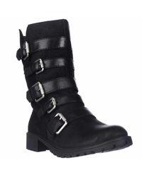 Naya | Black Darryn Strappy Lug Sole Motorcycle Boots for Men | Lyst