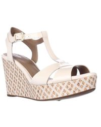 Clarks | Multicolor Amelia Roma Wedge T-strap Sandals | Lyst