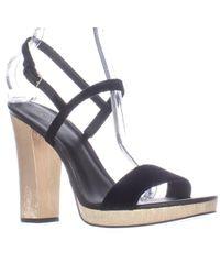 Calvin Klein   Bambii Black Platform Ankle Strap Sandals   Lyst