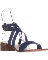 d73805e0af50 Lyst - Nine West Yesta Ankle Strap Dress Sandals in Blue