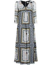 SUNO   Multicolor Metallic Printed V-neck Dress   Lyst