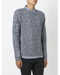 A.P.C. - Blue Loose Knit Crew Neck Sweater for Men - Lyst