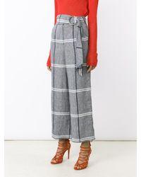 SUNO - Multicolor Cropped Plaid Wide-leg Pants - Lyst