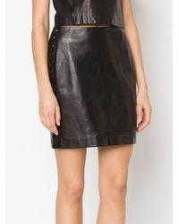Mugler - Black - Leather Eyelets Embellished Skirt - Women - Lamb Skin/polyester/acetate - 40 - Lyst